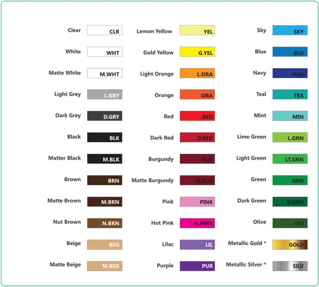 Vinyl color chart standart premium and reflective decalsf vinyl color chart standart vinyls decalsf nvjuhfo Choice Image